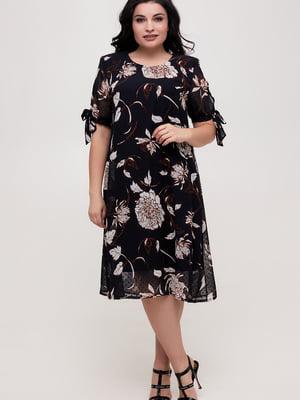 Платье темно-синее в цветочный принт | 5734813