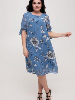 Сукня синя у квітковий принт   5734815