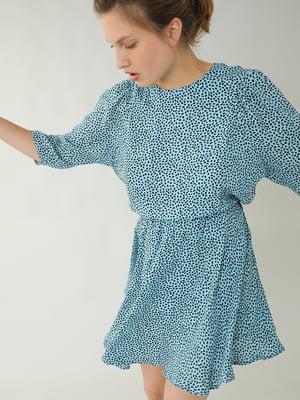 Платье голубое в принт | 5733765