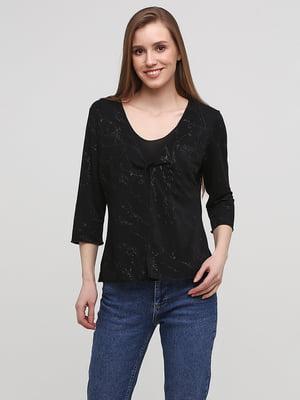 Блуза черная с декором | 5656413