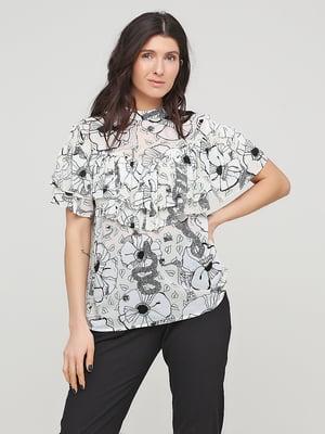 Блуза молочного цвета в цветочный принт | 5715909
