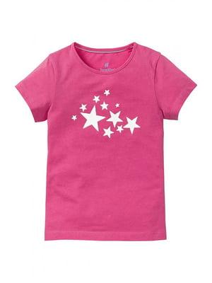 Футболка розового цвета в принт | 5717579