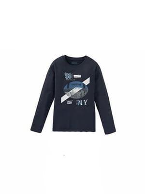 Лонгслив синий в принт | 5717677