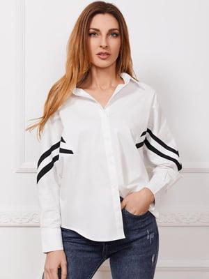 Рубашка белая с полоской | 5735666