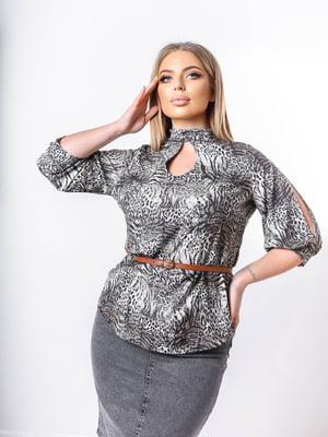 Блуза сіра в принт | 5736544