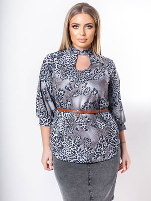 Блуза сіра в принт | 5736546