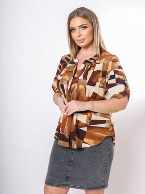 Блуза коричневая в принт | 5736534