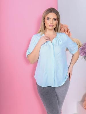 Блуза голубая в принт | 5736535