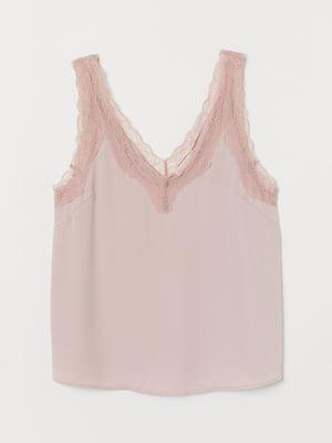 Топ кольору рожевої пудри з мереживом | 5736810