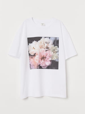Футболка біла з квітковим принтом | 5736836