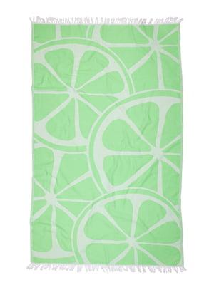 Рушник зелений в принт | 5436592