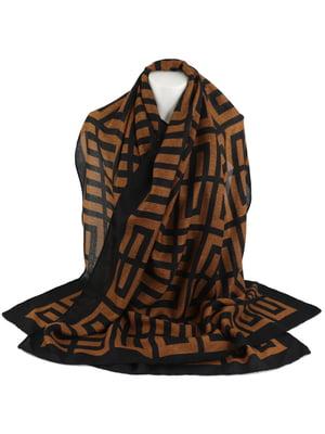 Шарф коричневий в орнамент   5737328