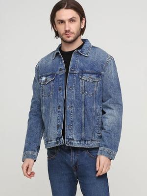 Куртка синяя с принтом | 5739049
