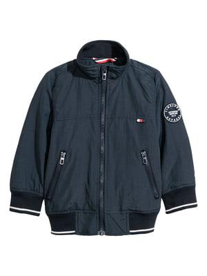 Куртка темно-синя з принтом | 5739056