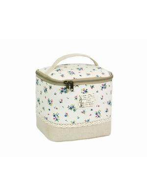 Косметичка-сумочка белая с цветочным принтом | 5738079
