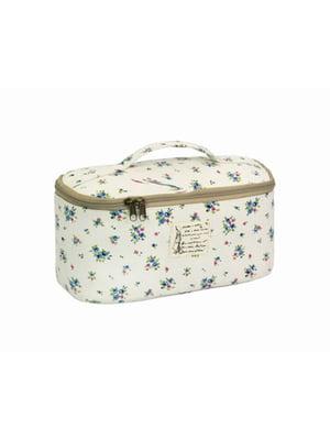 Косметичка-сумочка белая с цветочным принтом | 5738081