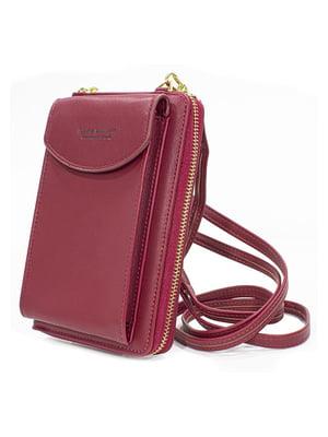Мини-сумка на плечо 3 в 1 бордовая | 5738244