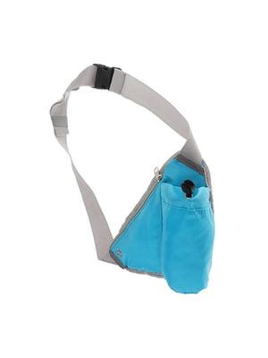 Сумка поясная для бега голубая с карманом для бутылки   5738259