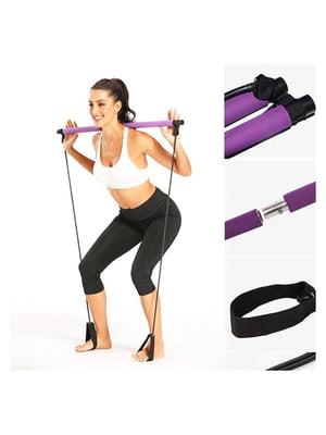 Палка гимнастическая для фитнеса с эспандерами | 5738279
