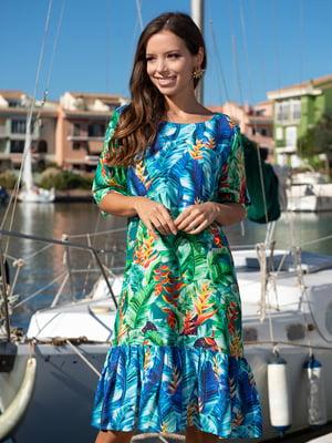 Платье зеленое в принт   5740098