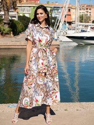 Платье белое в принт   5740167