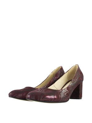 Туфлі бордові з візерунком | 5740649