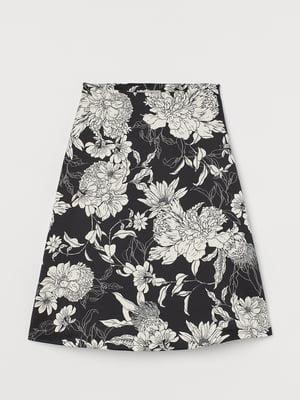 Юбка черная в цветочный принт | 5741238