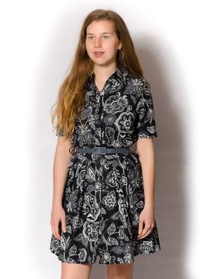 Платье темно-синее в принт | 5742020