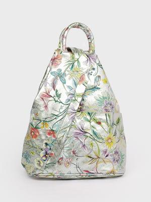 Рюкзак серебристого цвета в принт | 5741441