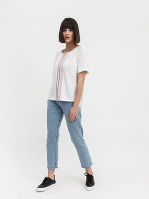 Блуза біла з смужками | 4100552