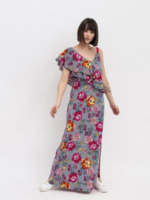 Платье серое в цветочный принт | 4973681