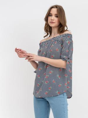 Блуза в смужку і квітковий принт | 5114041