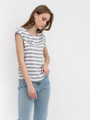 Блуза молочна в смужку | 5114066