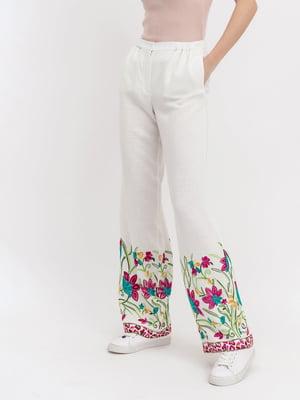 Штани молочного кольору з вишивкою | 5115806