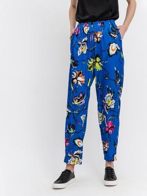 Штани блакитні з квітковим принтом | 5115807
