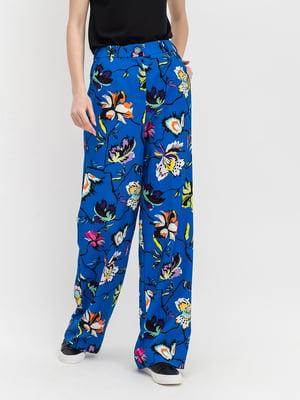 Штани блакитні з квітковим принтом | 5115808