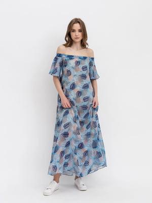 Платье голубое с принтом | 5129064