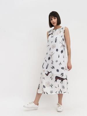 Сукня біла в принт | 5139583