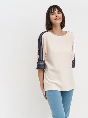 Блуза кольору пудри зі смужкою | 5304091