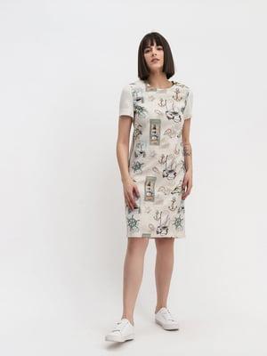 Сукня молочного кольору з принтом | 5304218