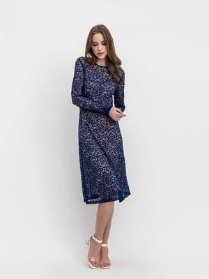 Платье синее с узором | 5304246