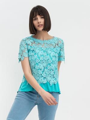 Блуза блакитна з візерунком | 5343233
