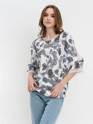Блуза сіра з принтом | 5343236