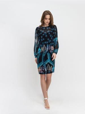 Платье синее с принтом | 5343267