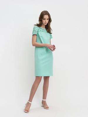Сукня салатового кольору з візерунком | 5343301