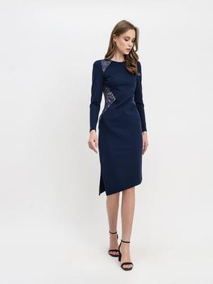 Платье синее с узором | 5343309