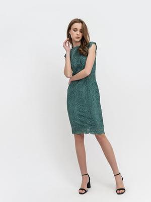 Платье зеленое с узором   5343314