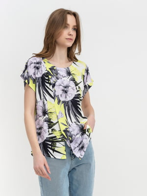 Блуза молочного цвета с цветочным принтом | 5441265