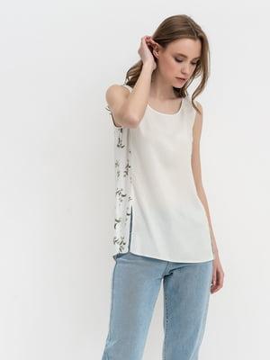 Блуза молочного цвета с цветочным принтом | 5441284