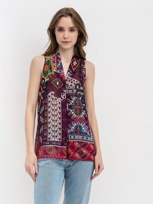 Блуза фіолетова з геометричним принтом | 5441286